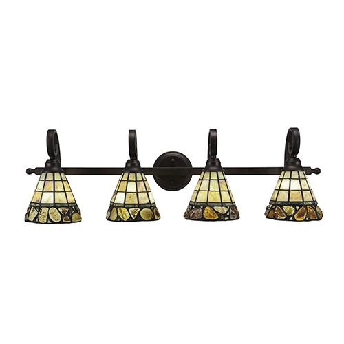 Toltec Lighting Curl Bronze Four-Light Bath Vanity with Cobblestone Tiffany Glass