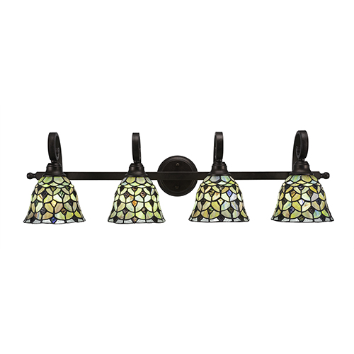 Curl Bronze Four-Light Bath Vanity with Crescent Tiffany Glass