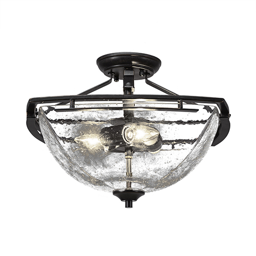 Toltec Lighting Uptowne Dark Granite Three-Light Semi Flush Mount with Clear Bubble Glass