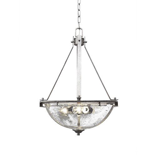 Uptowne Aged Silver Three-Light Pendant with Clear Bubble Glass