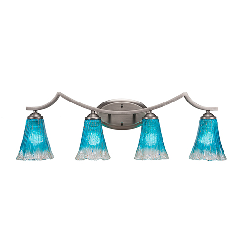 Toltec Lighting Zilo Graphite Four-Light Bath Vanity with Fluted Teal Crystal Glass