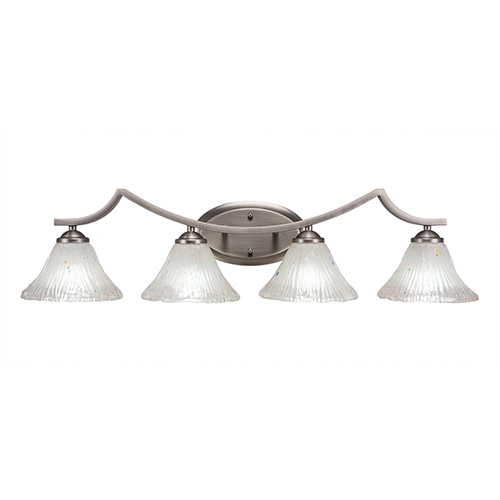 Toltec Lighting Zilo Graphite Four-Light Bath Vanity with Frosted Crystal Glass