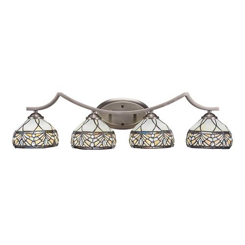 Zilo Graphite Four-Light Bath Vanity with Royal Tiffany Glass