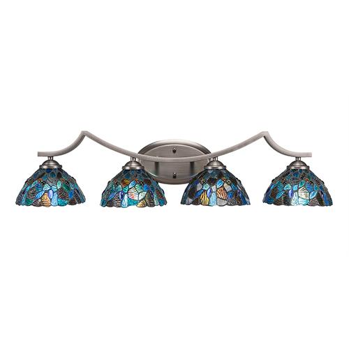 Zilo Graphite Four-Light Bath Vanity with Blue Mosaic Tiffany Glass