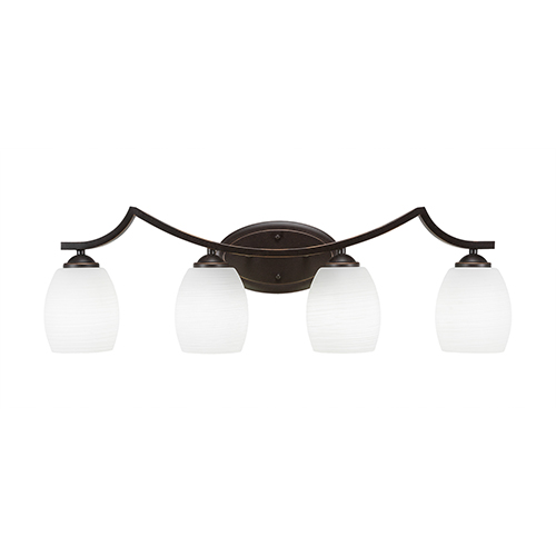Toltec Lighting Zilo Dark Granite Four-Light Bath Vanity with White Linen Glass