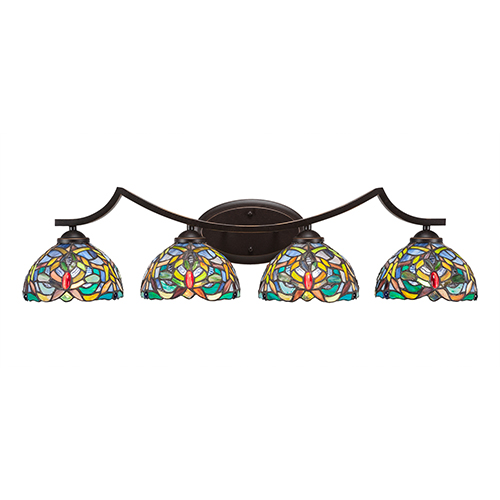 Toltec Lighting Zilo Dark Granite Four-Light Bath Vanity with Kaleidoscope Tiffany Glass