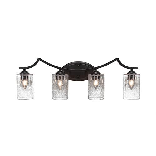 Toltec Lighting Zilo Matte Black Four-Light Bath Vanity with Clear Bubble Glass