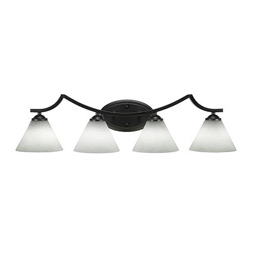 Toltec Lighting Zilo Matte Black Four-Light Bath Vanity with White Muslin Glass