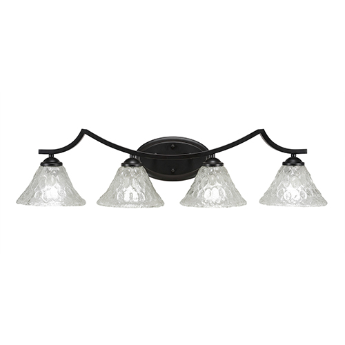 Toltec Lighting Zilo Matte Black Four-Light Bath Vanity with Italian Bubble Glass