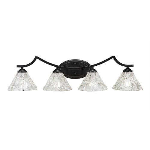 Toltec Lighting Zilo Matte Black Four-Light Bath Vanity with Italian Ice Glass