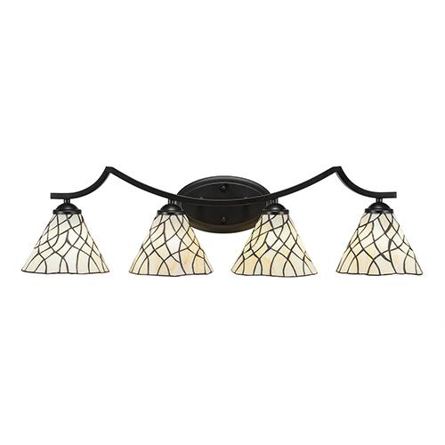 Zilo Matte Black Four-Light Bath Vanity with Sandhill Tiffany Glass