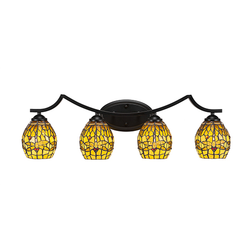 Toltec Lighting Zilo Matte Black Four-Light Bath Vanity with Amber Dragonfly Tiffany Glass