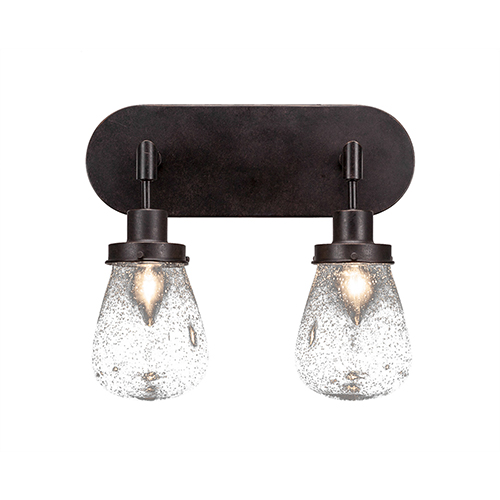 Toltec Lighting Meridian Dark Granite Two-Light Bath Sconce with Clear Bubble Glass