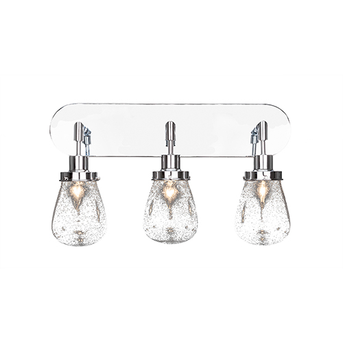 Meridian Chrome Three-Light Bath Vanity with Clear Bubble Glass