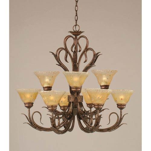 Swan Bronze Nine-Light Chandelier with Amber Crystal Glass