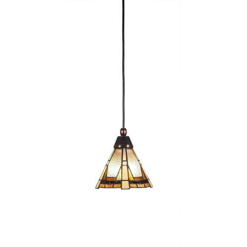 Any Black Copper One-Light Mini Pendant with Zion Tiffany Glass