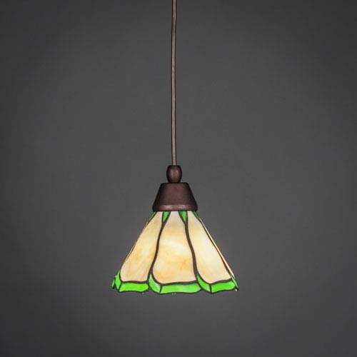Toltec Lighting Bronze One-Light Pendant with Honey and Hunter Green Flair Tiffany Glass