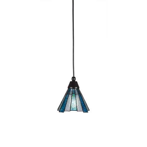 Toltec Lighting Any Matte Black One-Light Mini Pendant with Sea Ice Tiffany Glass