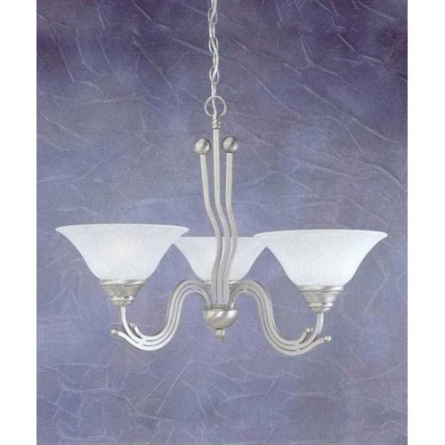 Toltec Lighting Brushed Nickel Three-Light Chandelier with White Marble Glass