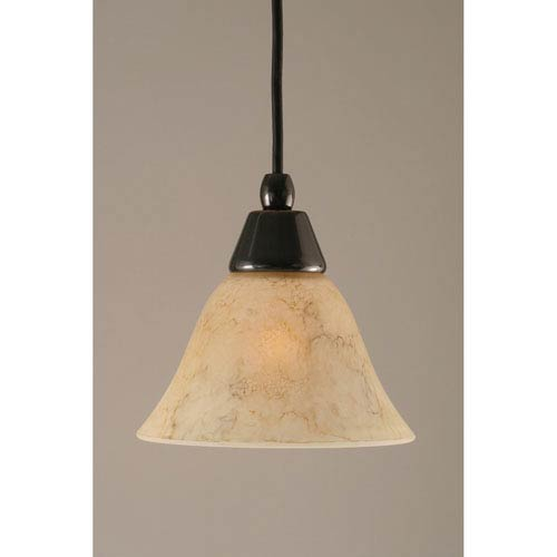 Toltec Lighting Black Copper Mini Pendant with 7-Inch Italian Marble Glass