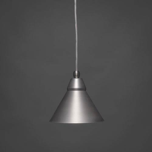 Toltec Lighting Brushed Nickel 7-Inch One Light Mini Pendant with Brushed Nickel Cone Metal Shade
