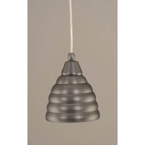 Toltec Lighting Brushed Nickel Mini Pendant with 6-Inch Beehive Metal Shade
