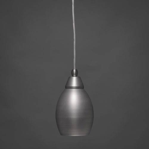 Toltec Lighting Brushed Nickel 5-Inch One Light Mini Pendant with Brushed Nickel Cone Metal Shade