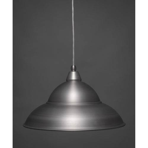 Toltec Lighting Brushed Nickel 16-Inch One Light Mini Pendant with Brushed Nickel Cone Metal Shade