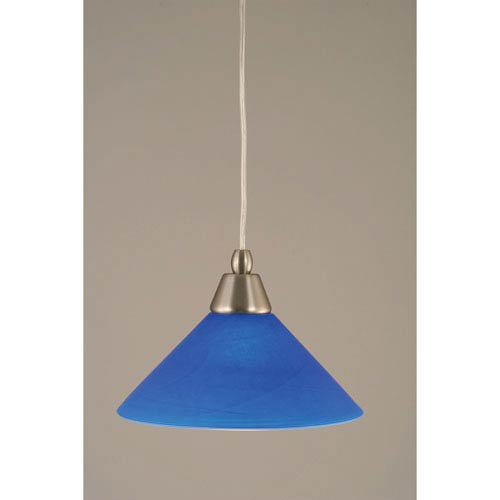 Brushed Nickel Cord Mini Pendant with Blue Italian Glass