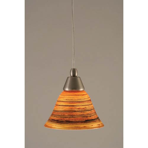 Brushed Nickel Cord Mini Pendant with FirrT Saturn Glass