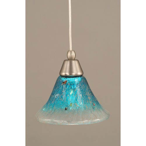 Brushed Nickel Cord Mini Pendant with Teal Crystal Glass