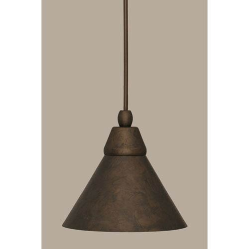 Toltec Lighting Bronze 7-Inch One Light Mini Pendant with Bronze Cone Metal Shade