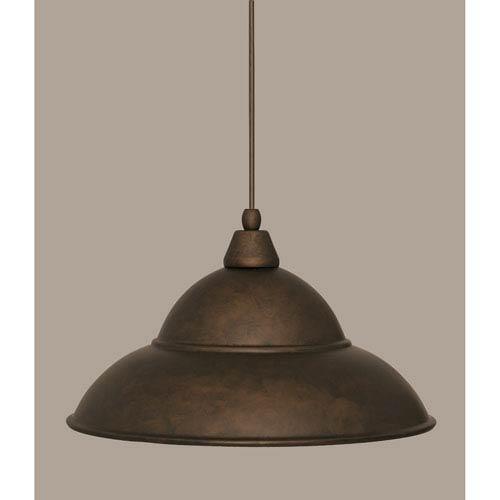 Toltec Lighting Bronze 16-Inch One Light Mini Pendant with Bronze Cone Metal Shade