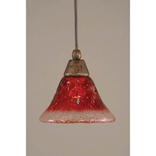 Toltec Lighting Bronze Cord Mini Pendant with 7-Inch Raspberry Crystal Glass