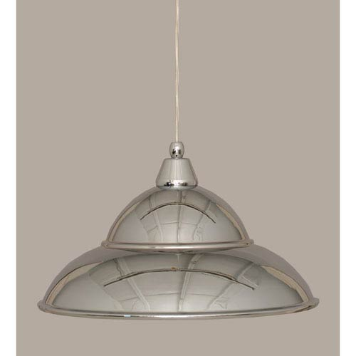 Chrome 16-Inch One Light Mini Pendant with Chrome Cone Metal Shade