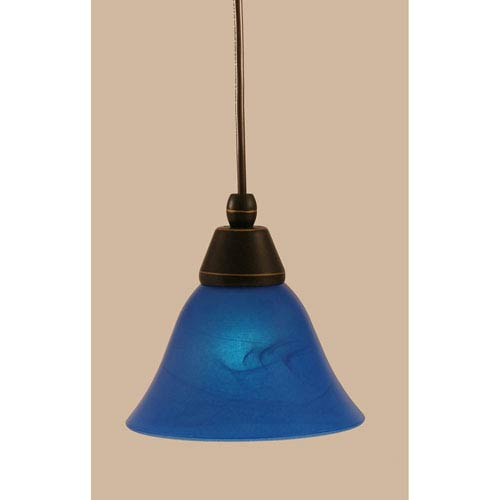 Dark Granite Cord Mini Pendant with Blue Italian Glass