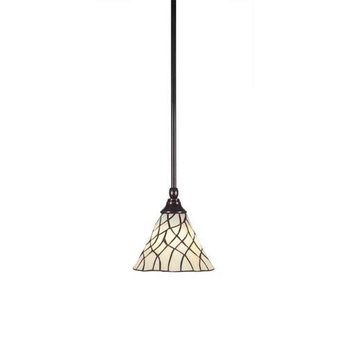 Toltec Lighting Any Black Copper One-Light Mini Pendant with Sandhill Tiffany Glass