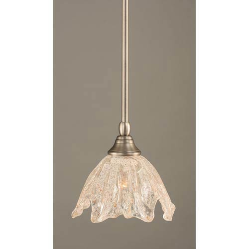 Toltec Lighting Brushed Nickel One-Light Mini Pendant with Italian Ice Glass