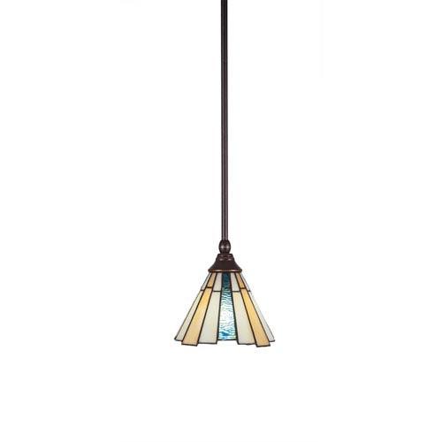Any Dark Granite One-Light Mini Pendant with Sequoia Tiffany Glass