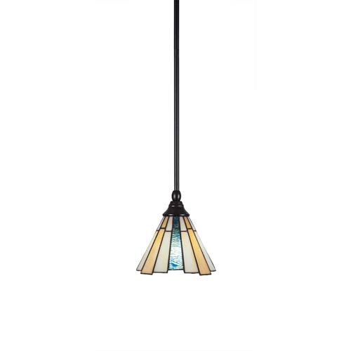 Any Matte Black One-Light Mini Pendant with Sequoia Tiffany Glass