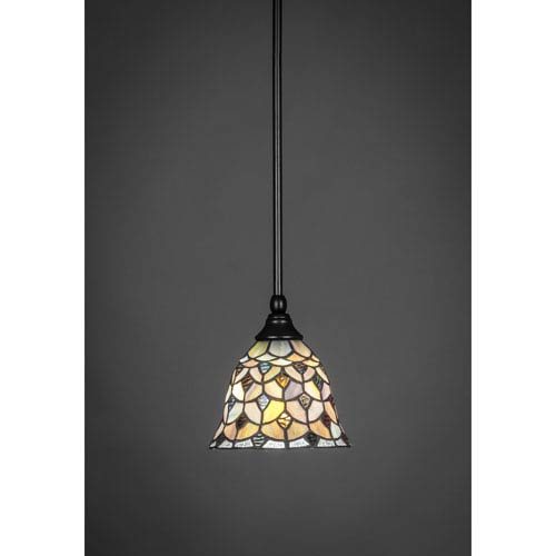 Matte Black One-Light Pendant with Crescent Tiffany Glass