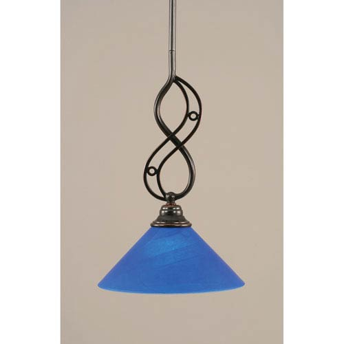 Toltec Lighting Jazz Black Copper One-Light Mini Pendant with 10-Inch Blue Italian Glass Shade