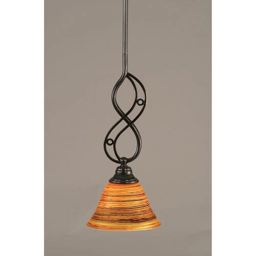Toltec Lighting Jazz Black Copper One-Light Mini Pendant with 7-Inch Firre Saturn Glass Shade