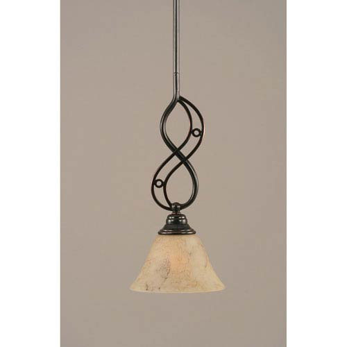 Toltec Lighting Jazz Black Copper One-Light Mini Pendant with 7-Inch Italian Marble Glass Shade