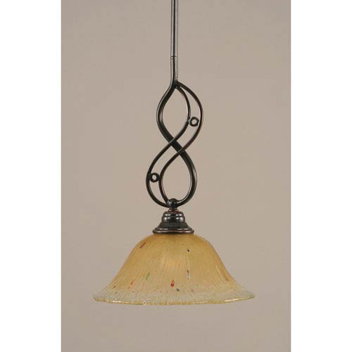 Toltec Lighting Jazz Black Copper One-Light Mini Pendant with 10-Inch Amber Crystal Glass Shade