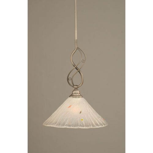 Jazz Brushed Nickel One-Light Mini Pendant with 12-Inch Frosted Crystal Glass Shade