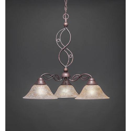 Toltec Lighting Jazz Bronze Three Light Downlight Chandelier With Amber Marble Gl