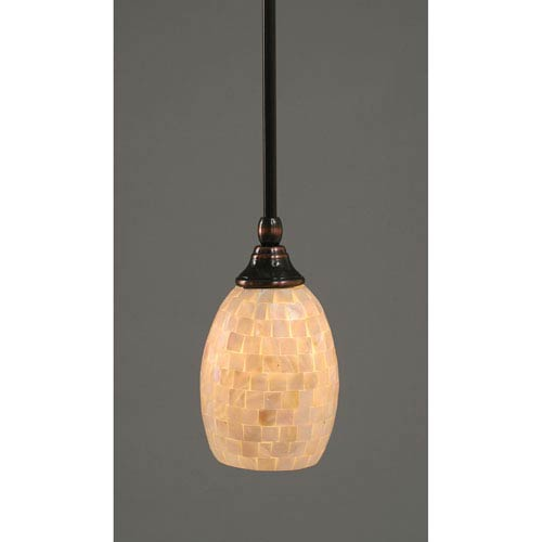 Toltec Lighting Black Copper One-Light Mini Pendant with Seashell Glass