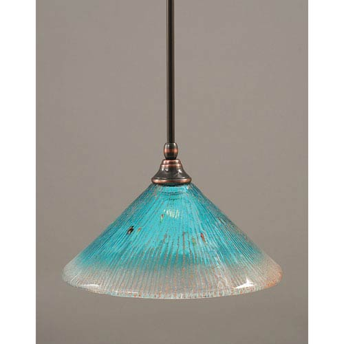 Black Copper One-Light Mini Pendant with Teal Crystal Glass
