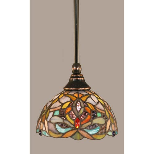 Toltec Lighting Black Copper Stem Mini Pendant with 7-Inch Kaleidoscope Tiffany Glass